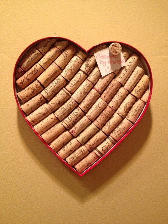 Heart shaped wine cork board for Heart shaped bulletin board