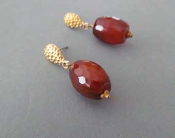 Gorgeous Carnelian/Agate Earings with gold posts by Bianca