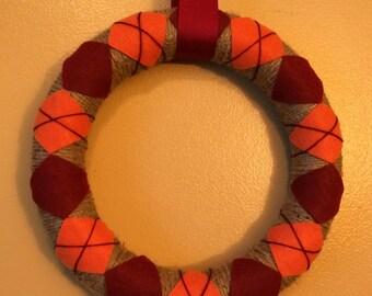 Preppy argyle fall maroon and orange wreath