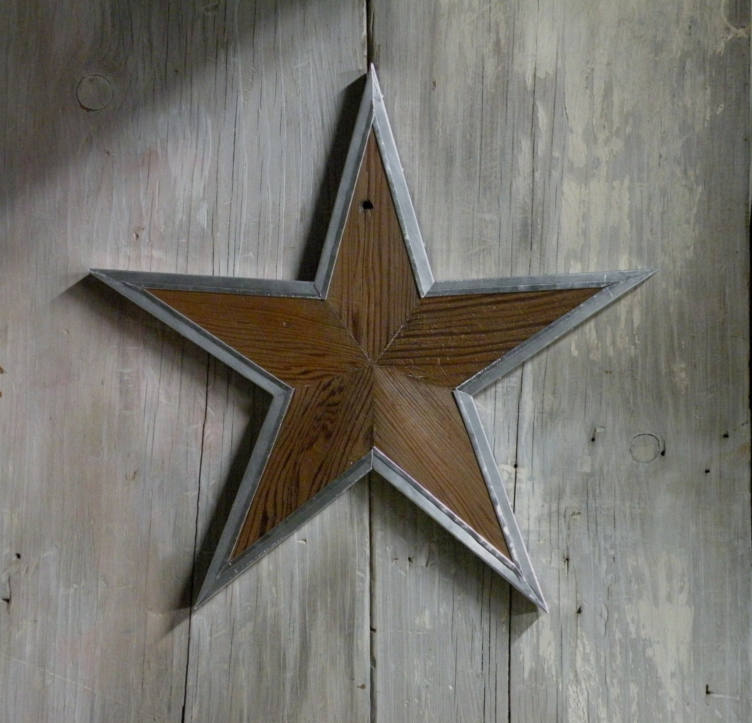 Wood Star Wall Decor With Hammered Tin Trim