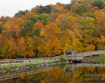 Autumn Reflections in Cheat Lake Morgantown West Virginia - Landscape - Photographic Print