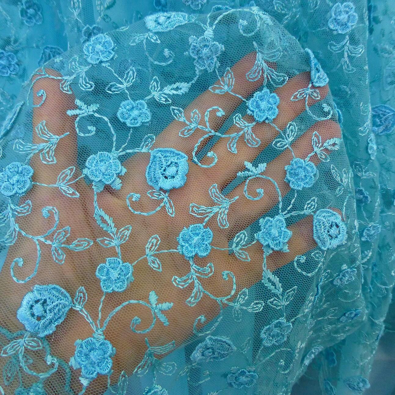 fleurs 3d en tissu dentelle bleu turquoise tulle broderie. Black Bedroom Furniture Sets. Home Design Ideas