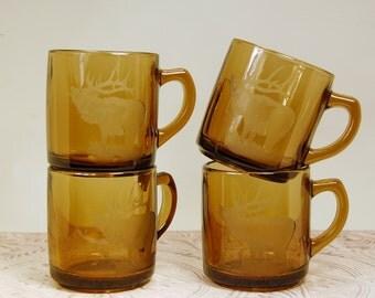 Elk Amber Glass Etched Mugs  Set of 4