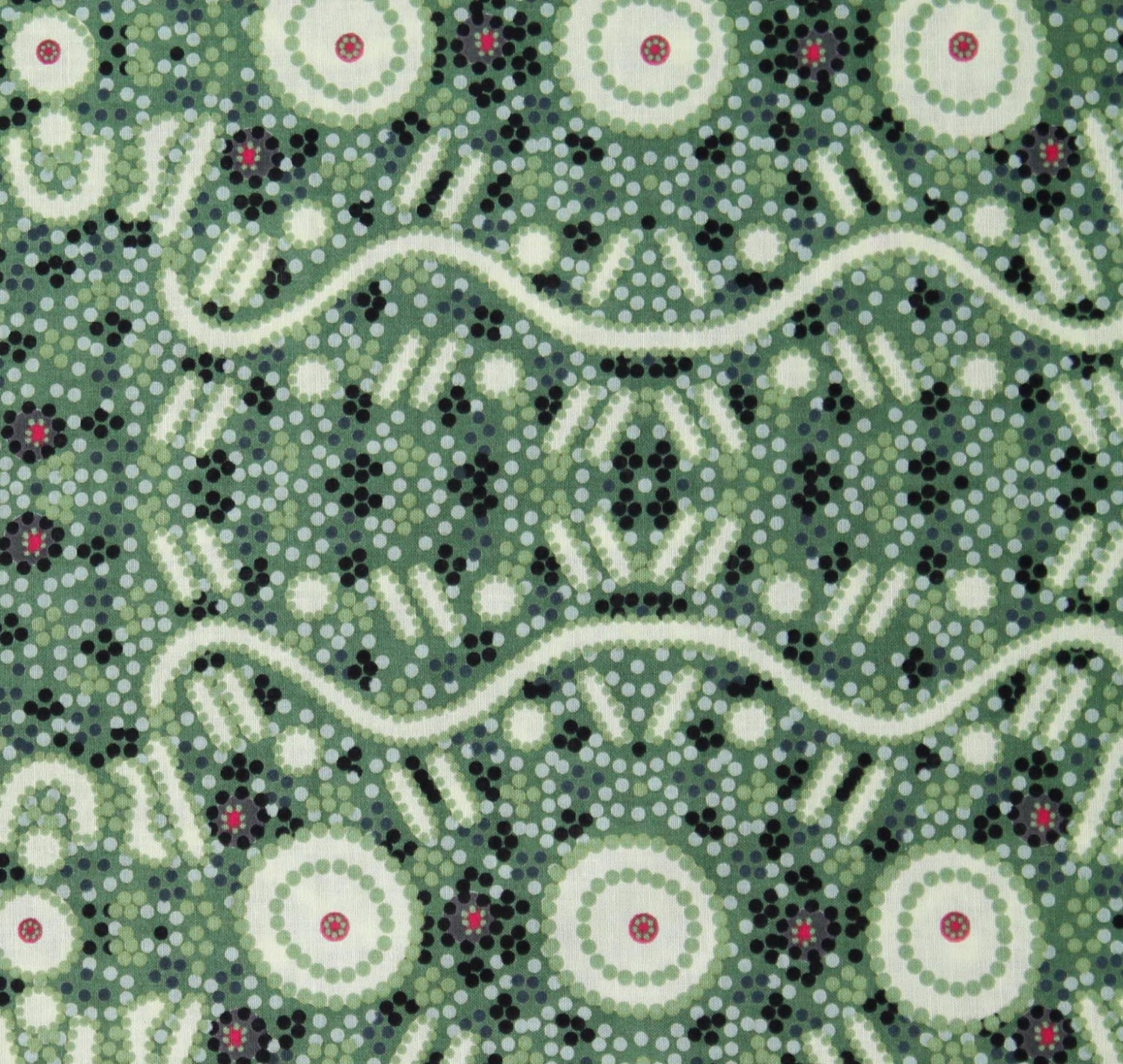 Australian aboriginal quilting fabric water dreaming green for Star fabric australia