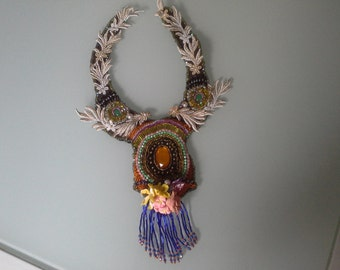 beaded bib necklace, polymer clay flowers created by myself, rhinestones in colors, gold and white stripes
