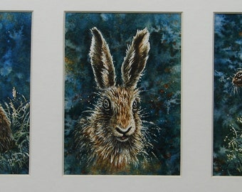 """Fifty Pounds OFF. Spring Hares."""" An Original 'Tryptic' Watercolour showing x 3 paintings. Hares, Wildlife, and Woodland paintings"""