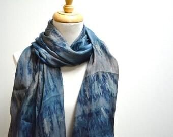Silk Scarf / Tye-Dye Scarf / Elegant Scarf / Lightweight Scarf