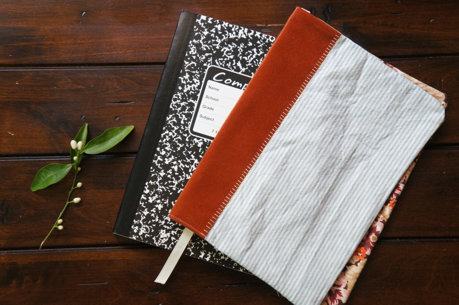 Fabric Composition Book Cover ~ Fabric cover for composition notebook personalized by