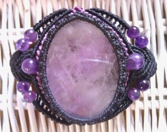 Cuff macramé and leather with Amethyst ore