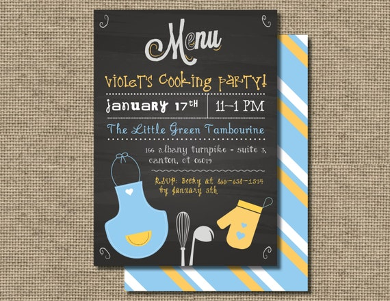 Kids Cooking Birthday Party invitation Kids baking invite – Cooking Birthday Party Invitations