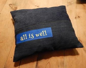 All is Well...Little denim pillow...Think Positive cushion
