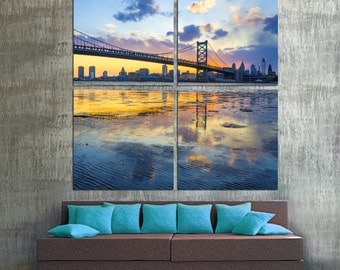 Philadelphia skyline, Ben Franklin Bridge Canvas Print. 4 panel split (Quad) - Cityscape photo giclee for wall decor and interior design.