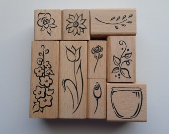 Set of 9 Rubber Stamps