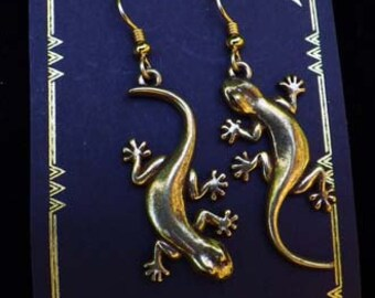 Gold Plated Gecko Earrings by D'Artefax