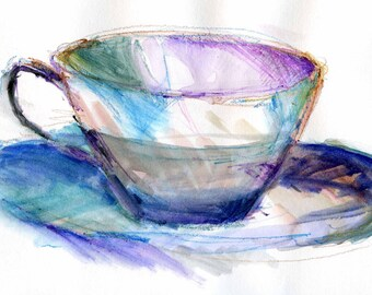 Watercolor, cup and saucer, blank card, print from original