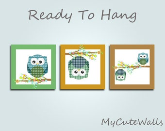 Framed Owl Baby Wall Art For Nursery 3 Piece Set Ready To Hang