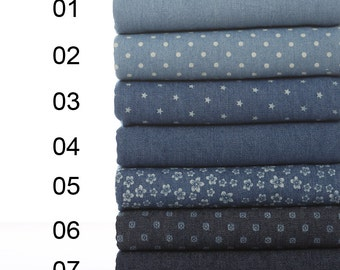 "Do the old Washed denim fabric Cotton Fabric/300 g Weight Denim Fabric/ Blue Dots Stars Cotton Fabric/ Blue Jeans fabric- 1/2 yard 18""X55"""