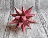 Paper Star in Burgundy with Gold Accent Polka Dots