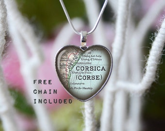 Corsica heart shape vintage map necklace. Location gift pendant. Free matching chain is included.