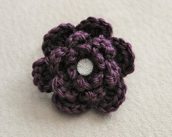 Dark Purple Crocheted Flower Ponytail Holder