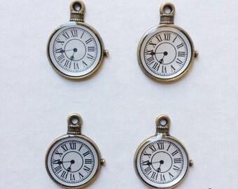 4 clock pocket watch charms - BCC103