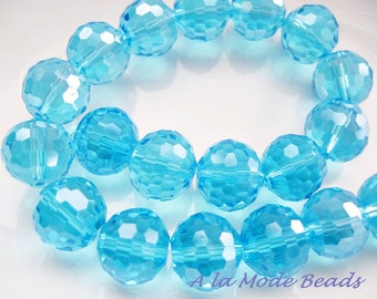 12MM Aqua Blue Crystal Beads Blue Crystal Rounds Blue Crystals (10)