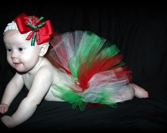 Babys First Christmas Red, Green and White Tutu