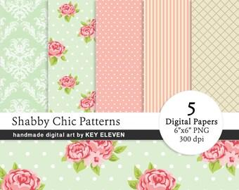Shabby Chic Digital Paper Pack - Coral, Pink, Mint, Green, Floral, Damask, Stripes, Vintage SEAMLESS Patterns. Instant Download PNG KEDP0022