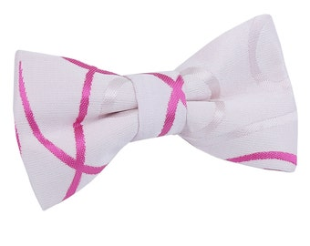 Scroll White & Hot Pink Boy's Bow Tie