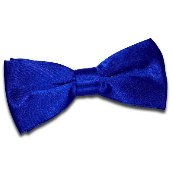 satin royal blue bow tie by dqtuk on etsy