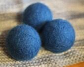 felted wool dyer balls // set of three, true blue (bluebird) // eco-friendly laundry