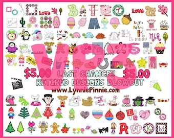 VP3 FORMAT Lynnie Pinnie Retired Designs VP3 format -- 115 designs and fonts!