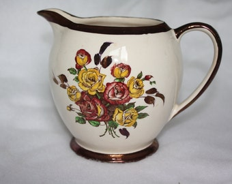 Medium  Sadler Made in England rose pitcher with copper luster