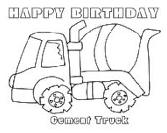 cement truck coloring page - popular items for dump truck birthday on etsy
