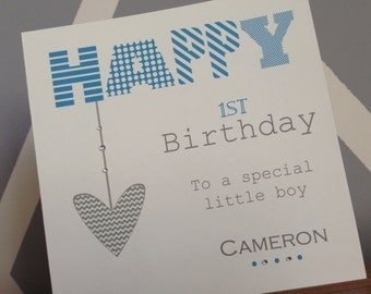Boy's Birthday Card - Blue + Grey Greeting Card / Son / Nephew / Grandson / Godson / Cousin / 1st 2nd 3rd 4th 5th 6th 7th 8th 9th 10th