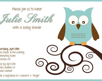 Owl Theme Customizable Baby Shower Invitation Digital Printable - any color, any gender