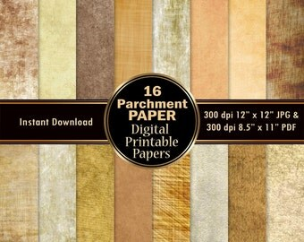 Parchment Papers Scrapbook Paper 16 Digital Colorful Parchment Digital Paper Pack DOWNLOAD Printable Stock Texture Graphics 12x12 JPG PDF