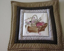 Quilted Knitting Basket Kitty Cat Mug Rug, Hot Pad, Pot Holder, Table Topper.