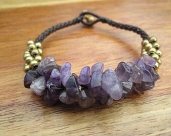 Amethysts bracelet,Amethysts stone bracelet,boho Amethysts bracelet, Purple brass bracelet,Amethysts jewelry