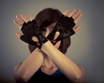 Crochet Fingerless Gloves Black Shortie Gloves Crochet Lace Gloves Gothic Gloves  Cotton Yarn Gloves Fingerless mittens Stylish item