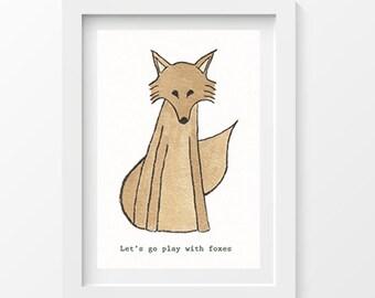 A4 print - Hand drawn fox