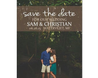 DIY Personalized Photo Save The Date Rustic Woods Vintage Digital Download