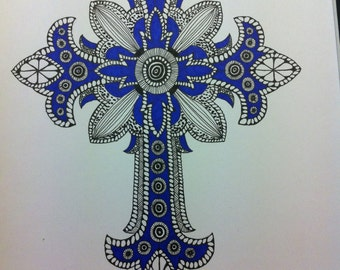 Zentangle Inspired Art- Ornate Cross Drawing