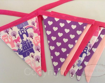 Fairytale Castle Bunting in Pinks and Purples, hearts, unicorns
