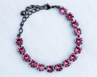 Rose Pink 8mm Swarovski Crystal Bracelet