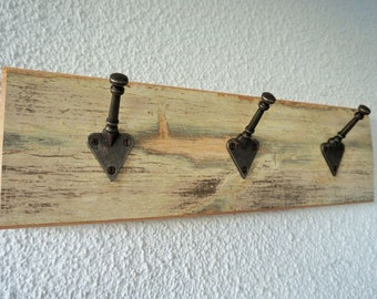 Reclaimed Wood Small 3 Peg Coat Rack Rustic Shabby Chic Style by The Fine Wooden Article Company