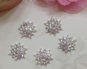 Gorgeous Rhinestone Button 17mm set of Five - Metal Rhinestone Button - Flat Back Rhinestone Button-Rhinestone Button 17mm-Rhinestone Button