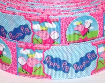 "Peppa Pig 1"" Grosgrain Ribbon - Peppa Pig Ribbon - 3 yards Peppa Pig Grosgrain Ribbon - Peppa Pig Grosgrain Ribbon"