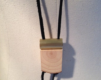 brass round wood leather pendant
