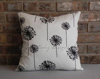 Pillow Cover - Dandelions White Black